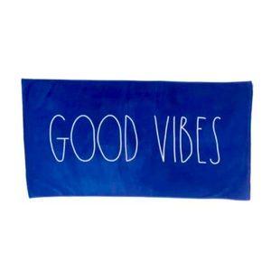 Rae Dunn Good Vibes Beach Towel Blue